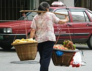 Baskets Photo Originals - Ancient Custom in Modern China by Nancy Aki