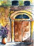 Pottery Paintings - Ancient Door of Greece by Therese Alcorn
