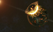 Cataclysm Posters - Ancient Earth Impact Poster by Fahad Sulehria