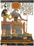 Horus Metal Prints - Ancient Egyptian Gods Hathor and Re Metal Print by Ben  Morales-Correa