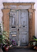 Ancient Doors Prints - Ancient Garden Doors in Greece Print by Sabrina L Ryan