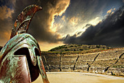 Helmet Photo Metal Prints - Ancient Greece Metal Print by Meirion Matthias
