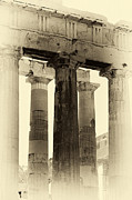 Ancient Greek Ruins Posters - Ancient Greek Columns Poster by John Rizzuto