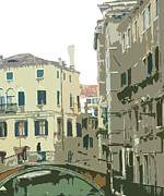 Brown Tones Prints - Ancient Italian Canal in Venice Print by Mindy Newman