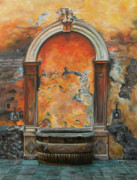 Italian Landscape Framed Prints - Ancient Italian Fountain Framed Print by Charlotte Blanchard