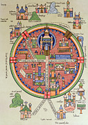 Colour Drawings - Ancient Map of Jerusalem and Palestine by French School
