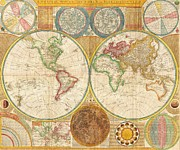 Maps Prints - Ancient Map World In Hemispheres Print by Pg Reproductions