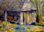 Historical Buildings Paintings - Ancient Mill by Wendy Head