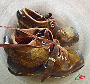Ski Mixed Media Framed Prints - Ancient old Ski SHOES  Framed Print by Colette Hera  Guggenheim