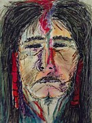 Native American Spirit Portrait Mixed Media Prints - Ancient One Print by Nashoba Szabol