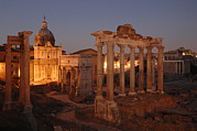 Ruins Photos - Ancient Romes Skyline At Sunset by Kenneth Garrett