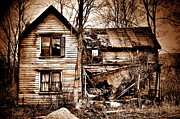 Abandoned Houses Prints - Ancient Sepia Print by Emily Stauring