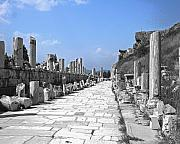 Ephesus Framed Prints - Ancient Walkway in Ephesus Turkey Framed Print by Jim Kuhlmann