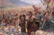 Attacking Metal Prints - Ancient Warriors Metal Print by Georges Marie Rochegrosse