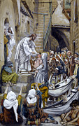 Tissot Painting Metal Prints - And All the City Was Gathered Together at the Door Metal Print by Tissot