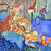 Giraffe Paintings - And Elephant Enters the Room by Jennifer Lommers