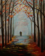 Rainy Street Painting Originals - And I Love You So by Leslie Allen