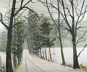Snowy Trees Paintings - And Miles to Go Before I Sleep by Lauren Everett Finn
