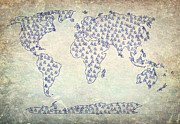 Earth Map  Digital Art Prints - AND Sign Old World Map Print by Georgeta  Blanaru