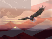 Patriotic Painting Posters - And the Eagle Flies Poster by Paul Sachtleben