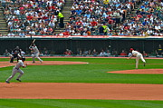 Cleveland Indians Stadium Prints - And the Runner Goes Print by Robert Harmon