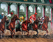 Race Painting Metal Prints - And Theyre Off Metal Print by Thomas Allen Pauly