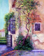 Adobe Building Pastels Posters - Andalucian Garden Poster by Candy Mayer