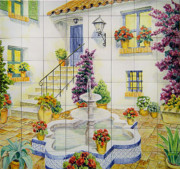 Hand Painted Ceramics Framed Prints - Andalusian patio Framed Print by Jose Angulo
