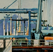 Sausalito Paintings - Anderson Boat Yard by Andrew Drozdowicz