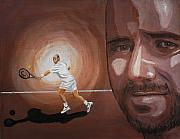 Tennis Painting Originals - Andre Agassi by Quwatha Valentine