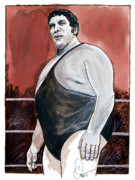 Hall Of Fame Drawings Framed Prints - Andre The Giant Framed Print by Dave Olsen