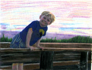 Pier Drawings - Andrew At the Pier by Arlene  Wright-Correll