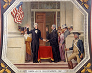 Swearing In Prints - Andrew Jackson at the First Capitol Inauguration - c 1829 Print by International  Images