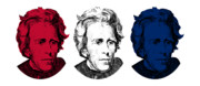 Andrew Digital Art Framed Prints - Andrew Jackson Red White and Blue Framed Print by War Is Hell Store
