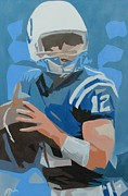 Rookie Paintings - Andrew Luck II by Steven Dopka