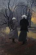 Walking Prints - Andrew Wyeth and Odd Nerdrum Print by Richard T Scott
