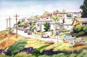 Old Houses Painting Posters - Andrews Street Mission Hills Poster by Mary Helmreich