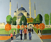 Istanbul Painting Posters - Andy Billy and Alastair leaving  The Blue Mosque Istanbul 2010 Poster by Bill White