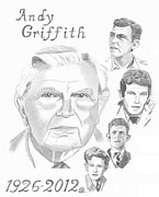Sheriff Drawings Framed Prints - Andy Griffith Framed Print by Gail Schmiedlin