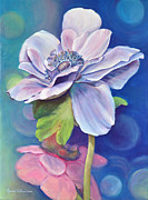 Anemones Paintings - Anemone bleue by Muriel Dolemieux