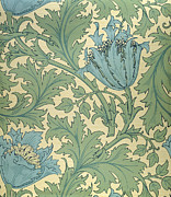 Leaves Tapestries - Textiles Posters - Anemone design Poster by William Morris