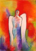 Fire Pastels Posters - Angel 003 Poster by Joe Michelli