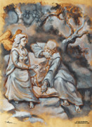 Grisaille Paintings - Angel Advising a Saint by Dan Hammer