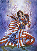 Patriotic Paintings - Angel America by Michael Baum