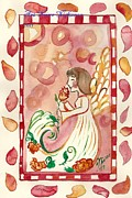 Religious Art Painting Originals - Angel and a rose by Niina Niskanen