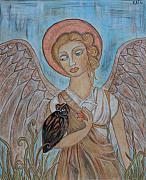 Religious Art Painting Framed Prints - Angel and Owl Framed Print by Rain Ririn