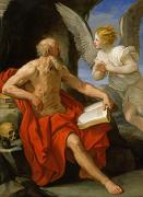 Pen  Art - Angel Appearing to St. Jerome by Guido Reni