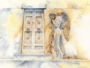 Rome Drawings Framed Prints - Angel at the Gate Framed Print by David Evans