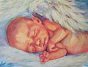 Angel Wings Paintings - Angel Baby by Peggy Wilson
