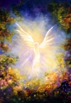 Healing Art Painting Prints - Angel Descending Print by Marina Petro